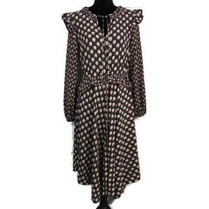 H&M Floral Prairie Boho Ruffle Midi Dress 6
